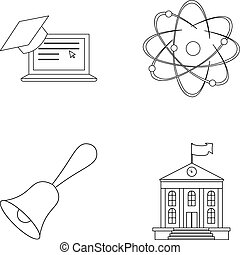 Computer, cap, atom, nucleus, bell, university building. School set collection icons in outline style vector symbol stock illustration web.