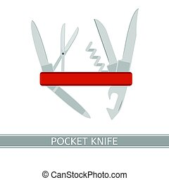 Pocket Knife Icon - Multifunctional pocket knife vector...