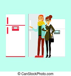 Positive young family couple choosing fridge. Appliance...