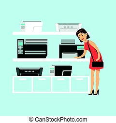 Young woman choosing MFP printer at appliance store colorful...