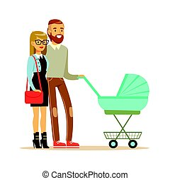 Young couple walking with they newborn baby in turquoise pram colorful characters vector Illustration