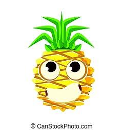 Bewildered pineapple face with big eyes. Cute cartoon emoji...