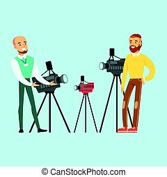 Young man choosing camcorder with shop assistant help in appliance store colorful vector Illustration