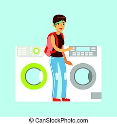 Young woman choosing new clothes washer. Appliance store...