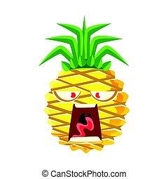 Screaming pineapple emoticon. Cute cartoon emoji character vector Illustration