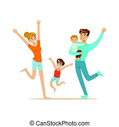 Happy family with two kids having fun colorful characters vector Illustration