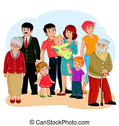 Vector happy family - great-grandfather, great-grandmother, grandfather, grandmother, dad, mom, daughter, son and baby