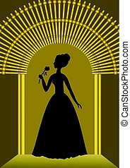 Black lady with flower silhouette in golden gate, luxurious...
