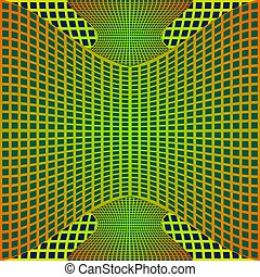 Optical art background with 3d illusion, deformed metal grid on blue area