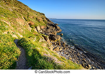 Cliffs at Porth nanven in Cornwall - Path along cliffs at...