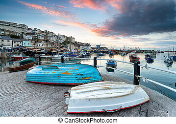 Sunset over Brixham Harbour