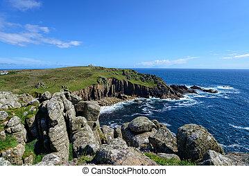 Porth Loe on the Cornwall Coast - Granite rock formations on...