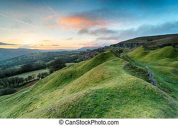 Dawn at the Llangattock Escarpment - Dawn over the...