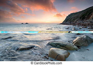 Porth Nanven Sunset - Beautiful sunset over the beach at...
