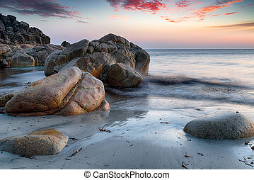 Boulders at Porth Nanven - Sea sculpted rocks on the beach...