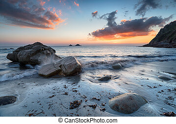 Sunset at Porth nanven in Cornwall - Beautiful sunset over...