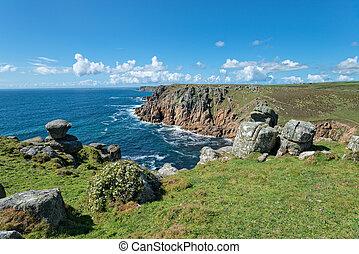 Porth Loe Cove in Cornwall - Cliffs above Porth Loe cove on...