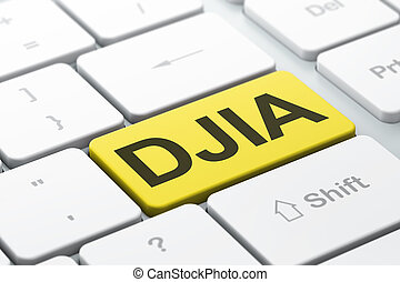 Stock market indexes concept: DJIA on computer keyboard...