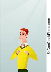 Young man quitting smoking vector illustration. - Caucasian...