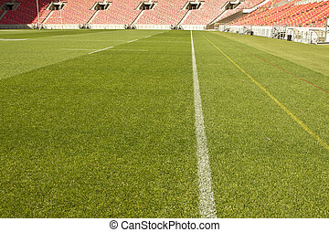 Sports field touch line - white touch line drawn on the...