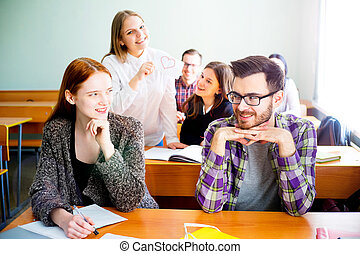 College students on a lecture - Group of college students on...