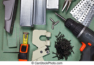 Drywall tools set - Plasterboard tools set with metal studs,...
