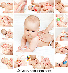 Baby massage collection - Masseuse massaging little baby...