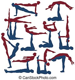Acroyoga poses - Set of editable vector silhouettes of man...