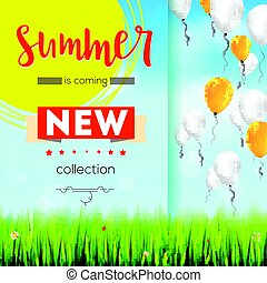 Summer new collection. Stylish advertisement text poster on blue summer sky backdrop with clouds, flying balloons, grass, daisies, ladybugs. Template mock-up for online shopping, advertising actions