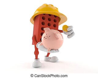 Brick character holding piggy bank