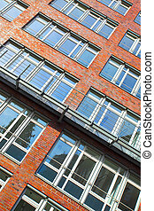 Windows of modern apartment building - Wall with windows of...