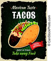 Retro Fast Food Mexican Tacos Poster
