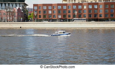 MOSCOW - MAY 7: Boat police of Russia floating on the Moscow river on May 7, 2017 in Moscow, Russia. FHD stock footage