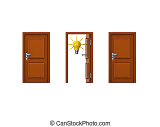 3D illustration of three doors with one being open and has a lightbulb