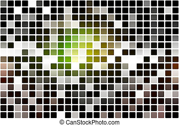Green brown yellow black occasional opacity mosaic over...