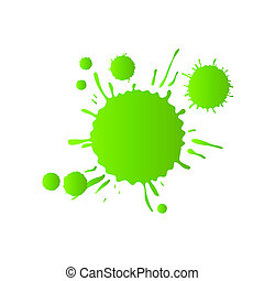 Green watercolor paint drops
