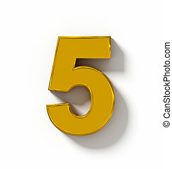 number 5 3D golden isolated on white with shadow - orthogonal projection