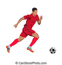 Soccer player in action with ball. Running offensive player...