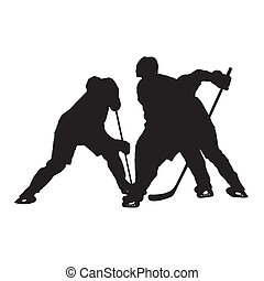 Ice hockey face off, vector silhouette
