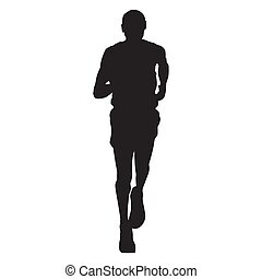 Runnng man vector silhouette, front view