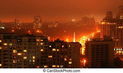Timelapse of night city Full HD