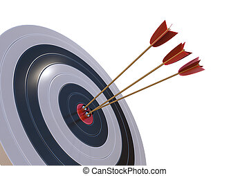 3D rendered illustration of target with arrows. Isolated on whit