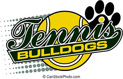 bulldogs tennis team design in script with tail and large...