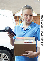 Female Courier Delivering Package To Domestic House