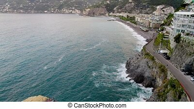 Beautiful aerial view of Amalfi coast in italy - Beautiful...