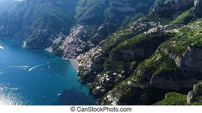 Beautiful flight over Positano at Amalfi Coast in Italy -...