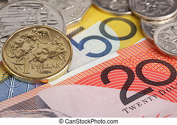 Australian currency. - Australian coins on $20 and $50...