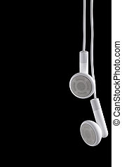 Ear phones - Modern portable audio ear phones, isolated on a...