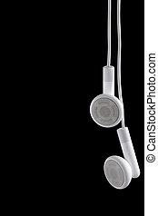 Ear phones - Modern portable audio ear phones, isolated on a...
