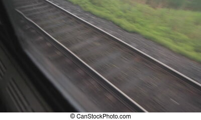 Train track - Looking through train window at railroad...